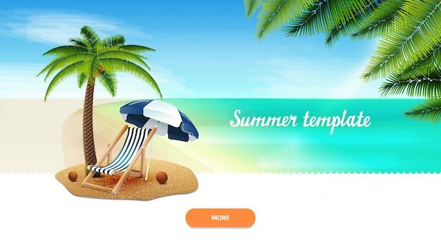 Modelo de verão para sua criatividade com palmeira, cadeira de praia e guarda-sol