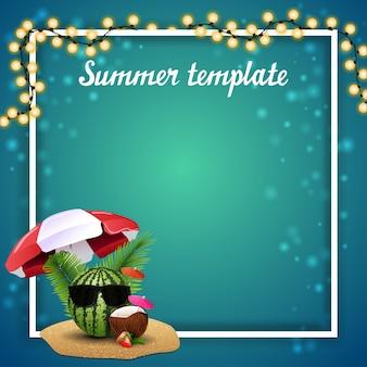 Modelo de verão para suas artes com festão e lugar para texto