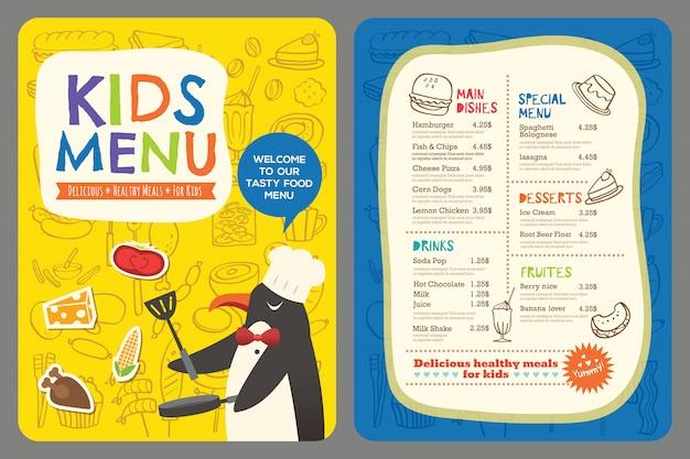 Modelo de vetor bonito colorido crianças refeição menu