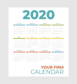 Modelo de vetor calendário calendário de arco-íris 2020. abstrato vazio conjunto conjunto 2020 calendário