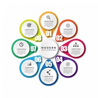 Modelo de vetor colorido moderno infográfico