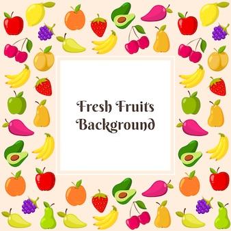 Modelo de vetor com moldura de frutas