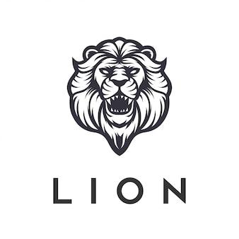Modelo de vetor com raiva de design de logotipo de leão