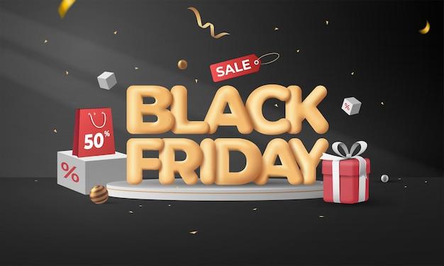 Modelo de vetor conceito 3d black friday super sale banner