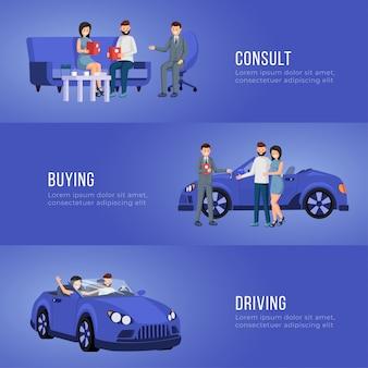 Modelo de vetor de banner de publicidade de salão de automóvel