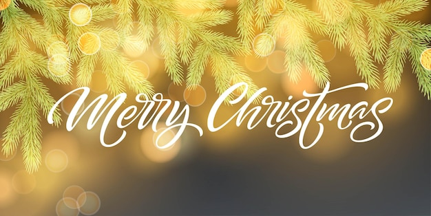 Modelo de vetor de banner feliz natal. galho de árvore do abeto realista com pinha sobre fundo azul com efeito bokeh. letras de natal com sombra e brilhos dourados brilhantes. cartaz, desenho de cartão postal