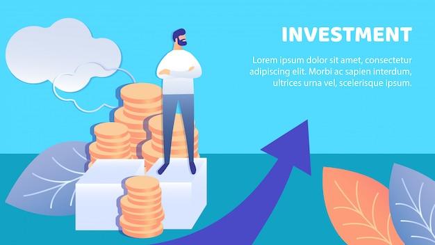 Modelo de vetor de banner plana de investimento de negócios