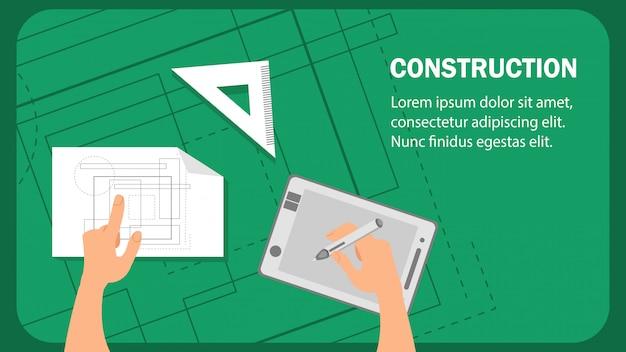 Modelo de vetor de banner plana de site de construção.
