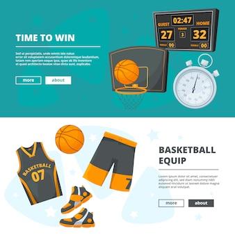 Modelo de vetor de banners horizontais com ilustrações de símbolos de basquete