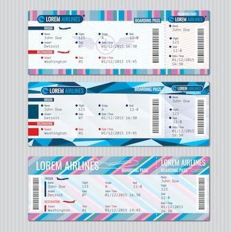 Modelo de vetor de bilhetes de embarque de avião. passageiro do cartão, ilustração de viagem de avião