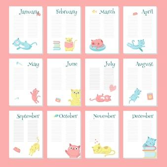 Modelo de vetor de calendário planejador com gatos bonitos