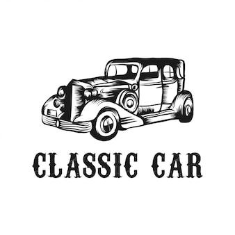 Modelo de vetor de carro clássico de ilustração de design de logotipo