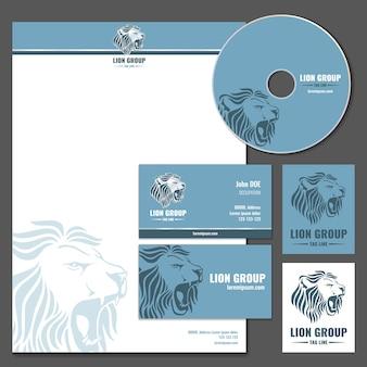 Modelo de vetor de cartão com logotipo de leão. imagem corporativa da empresa, leão da marca da empresa, ilustração do cabeçalho do leão selvagem