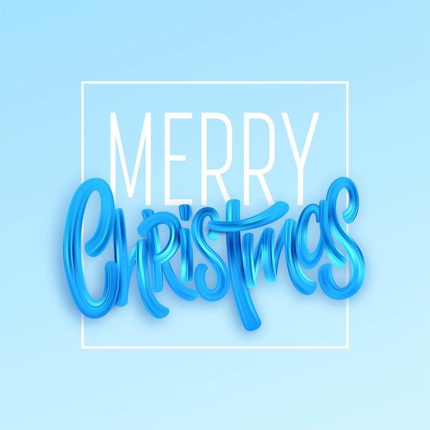 Modelo de vetor de cartão de feliz natal. traçados de pincel de tinta acrílica. fundo azul da caligrafia de natal com moldura. letras de tinta a óleo azul de natal. elemento de design isolado 3d da cor do pôster