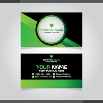 Modelo de vetor de cartão moderno verde e preto.
