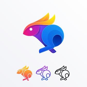 Modelo de vetor de coelho multicolorido