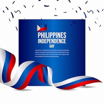 Modelo de vetor de comemoração feliz dia da independência das filipinas