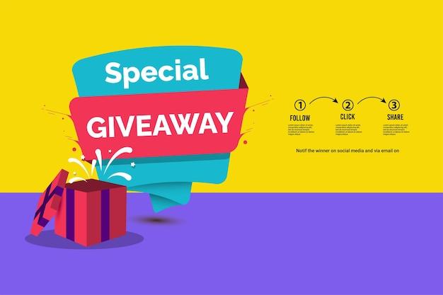 Modelo de vetor de concurso de mídia social giveaway entre para ganhar curtir e compartilhar