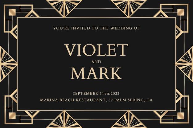 Modelo de vetor de convite de casamento para banner de mídia social com padrão art déco
