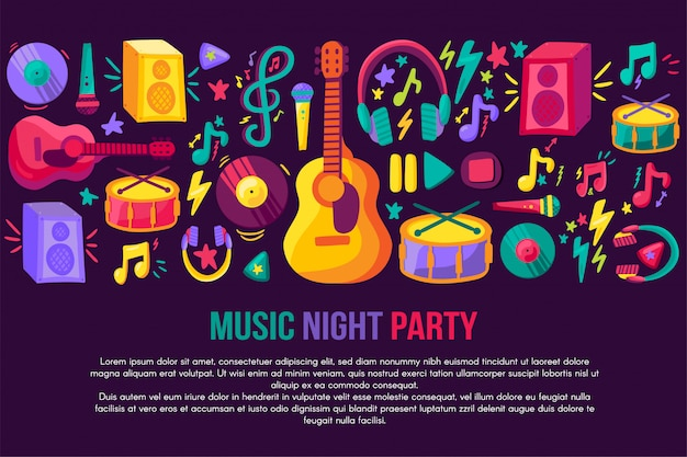 Modelo de vetor de convite festival musical