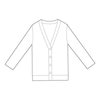 Modelo de vetor de desenho técnico plana cardigan fashion