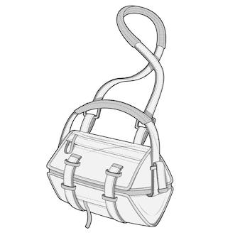 Modelo de vetor de desenho técnico plana saco moda