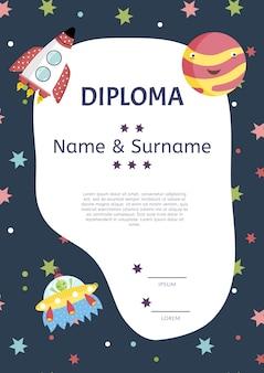 Modelo de vetor de desenhos animados de diploma