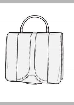 Modelo de vetor de desenhos técnicos de moda de sacos
