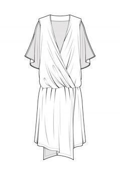 Modelo de vetor de desenhos técnicos de moda dress