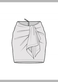 Modelo de vetor de desenhos técnicos de moda skirt