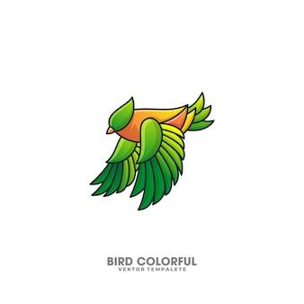 Modelo de vetor de design colorido de pássaro