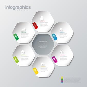 Modelo de vetor de design de infográficos modelo multicolor coleção de conceitos de fundo infográfico