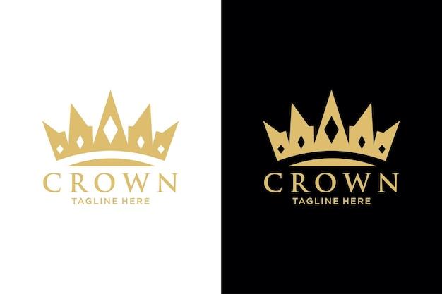 Modelo de vetor de design de logotipo abstrato geométrico vintage creative crown. símbolo da coroa do logotipo do vintage royal king queen ícone do conceito do logotipo.