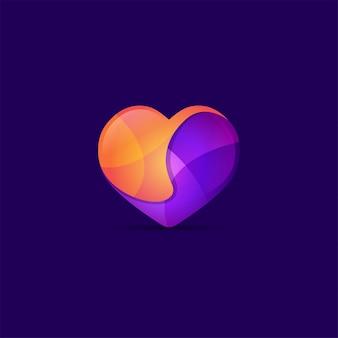 Modelo de vetor de design de logotipo de amor colorido