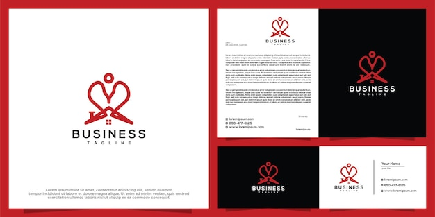 Modelo de vetor de design de logotipo de amor em casa