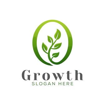 Modelo de vetor de design de logotipo de árvore de crescimento moderno, folha verde jardim