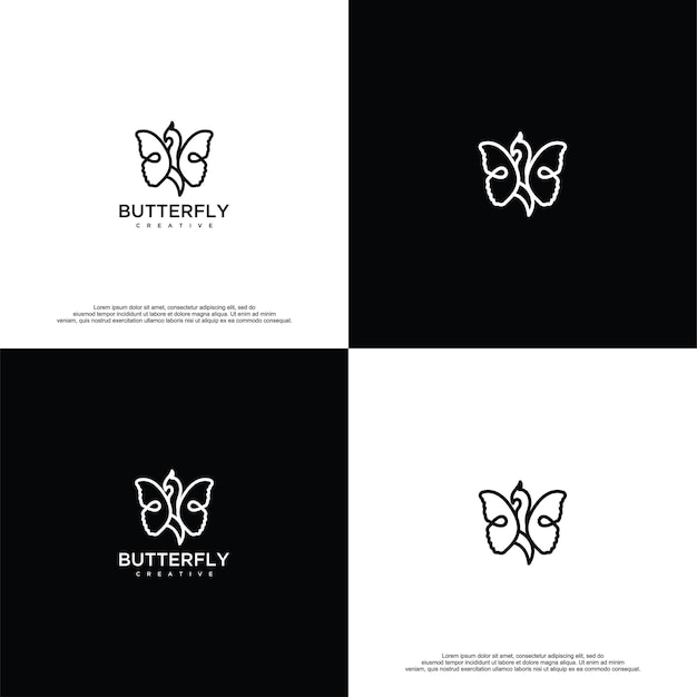 Modelo de vetor de design de logotipo de borboleta