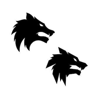 Modelo de vetor de design de logotipo de cabeça de lobo