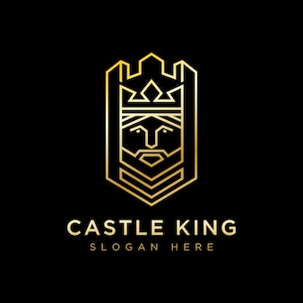 Modelo de vetor de design de logotipo de castelo de luxo rei, logotipo geométrico rei, linha castelo rei design de logotipo