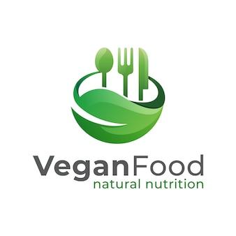 Modelo de vetor de design de logotipo de comida vegan, nutrição natural, alimentação saudável e vida saudável