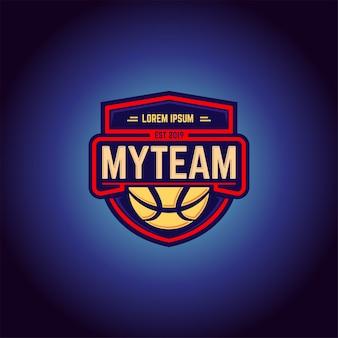 Modelo de vetor de design de logotipo de equipe de basquete