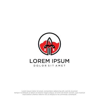 Modelo de vetor de design de logotipo de foguete