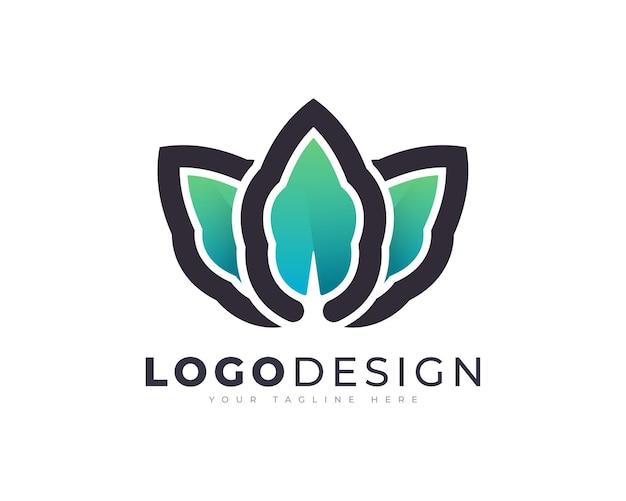 Modelo de vetor de design de logotipo de folha saudável gradiente colorido para o negócio da sua empresa