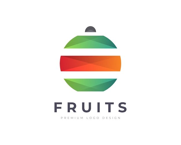 Modelo de vetor de design de logotipo de fruta gradiente colorido para o negócio da sua empresa