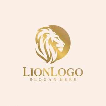 Modelo de vetor de design de logotipo de leão de luxo