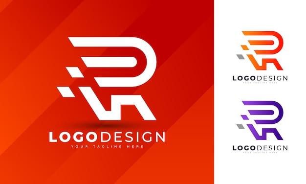 Modelo de vetor de design de logotipo de letra r colorido minimalista para o negócio de sua empresa