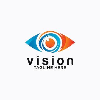 Modelo de vetor de design de logotipo de olho. ícone de mídia colorida. idéia do conceito de visão.
