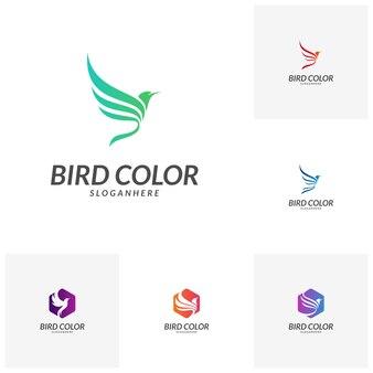 Modelo de vetor de design de logotipo de pássaro voador. Pomba pombo logotipo ícone do conceito.