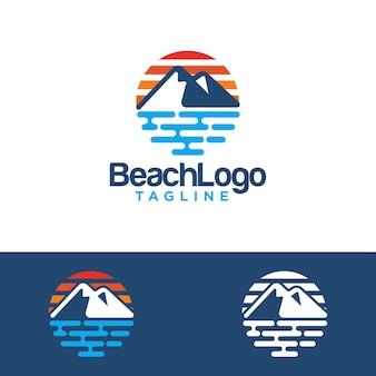 Modelo de vetor de design de logotipo de praia