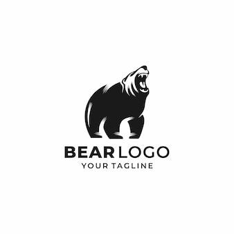 Modelo de vetor de design de logotipo de urso